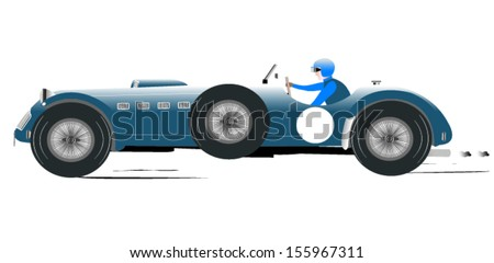 Vintage Sports Racing Car 6 - stock vector