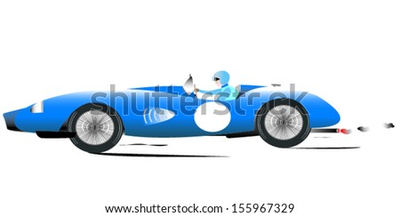 Vintage Sports Racing Car 5 - stock vector