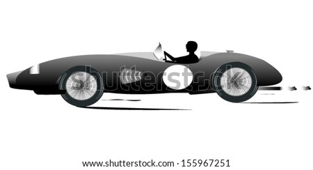 Vintage Sports Racing Car Silhouette 4 - stock vector