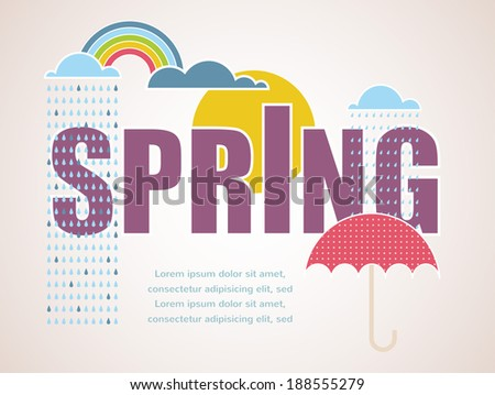Vintage spring time card with sun, clouds and umbrella - stock vector