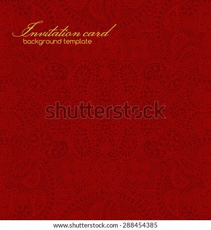 Vintage square paisley texture for cards and design with detailed asian ornament - stock vector