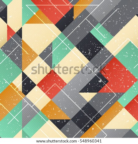 Vintage square seamless pattern with grunge effect (vector eps 10)