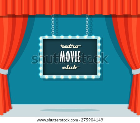 Vintage Stage with Red Curtains and Marquee Sign Retro Movie Club  - stock vector
