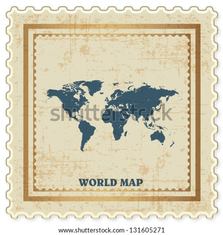 VINTAGE STAMP OF WORLD MAP BACKGROUND VECTOR - stock vector