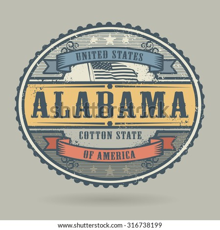 Vintage stamp or label with the text United States of America, Alabama, vector illustration - stock vector