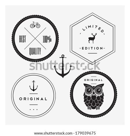 Vintage stamp set - stock vector