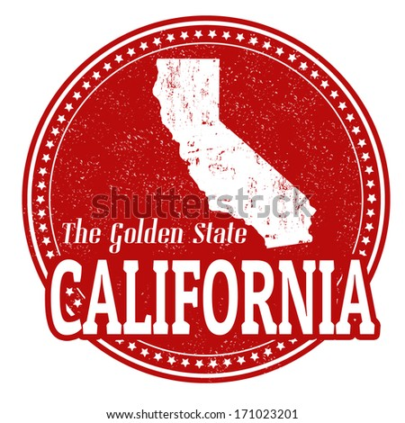 Vintage stamp with text The Golden State written inside and map of California, vector illustration - stock vector