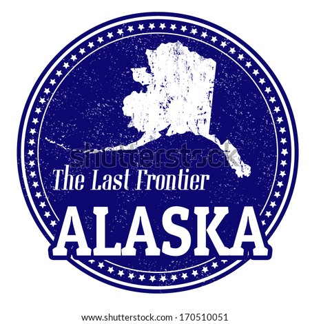 Vintage stamp with text The Last Frontier written inside and map of Alaska, vector illustration