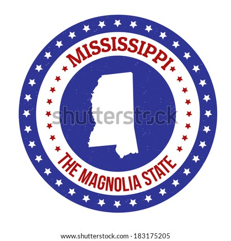 Vintage stamp with text The Magnolia State written inside and map of Mississippi , vector illustration - stock vector