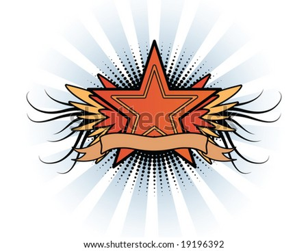Vintage star emblem - stock vector
