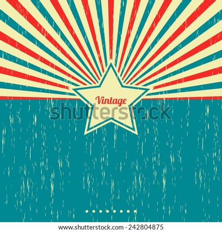 vintage star theme template - stock vector