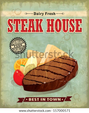 Vintage Steak house menu poster design - stock vector