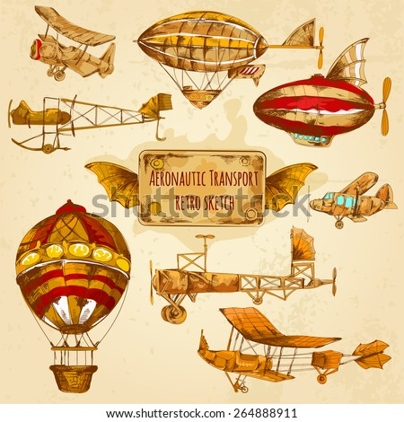 Vintage steampunk aviation colored sketch decorative icons set with zeppelin balloon and airplane isolated vector illustration - stock vector