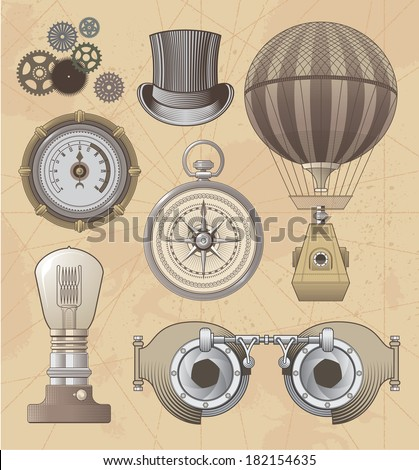Vintage Steampunk vector design set - stock vector