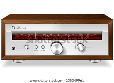 Vintage Stereo Analog Radio Tuner in Wooden Case Detailed Vector - stock vector