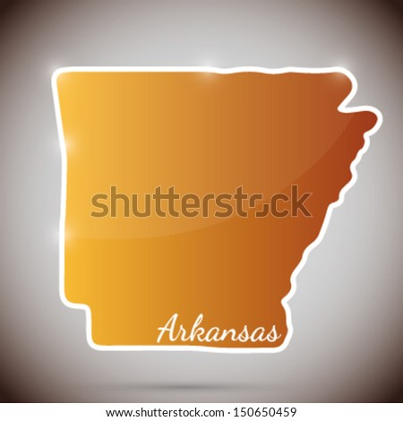 vintage sticker in form of Arkansas state, USA - stock vector