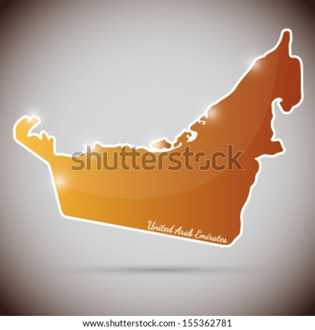 vintage sticker in form of United Arab Emirates - stock vector