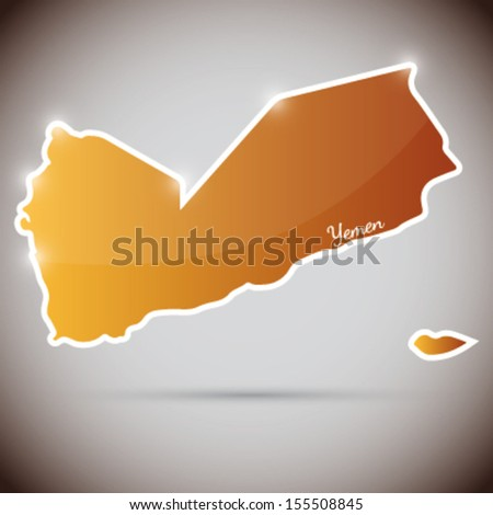 vintage sticker in form of Yemen - stock vector