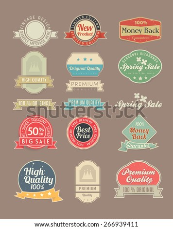 Vintage stickers and labels set - stock vector