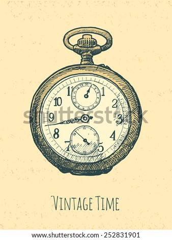 vintage stopwatch hand drawn illustration - stock vector