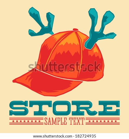 Vintage Store emblem - cap with reindeer horns - vector icon - add your text  - stock vector