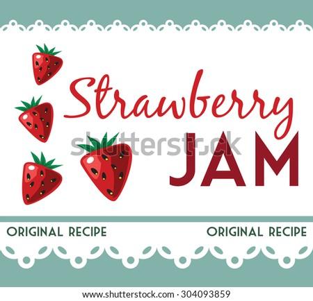 vintage strawberry jam card - stock vector