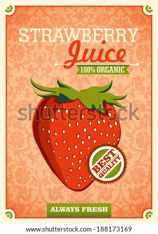 Vintage strawberry juice poster. Vector illustration. - stock vector