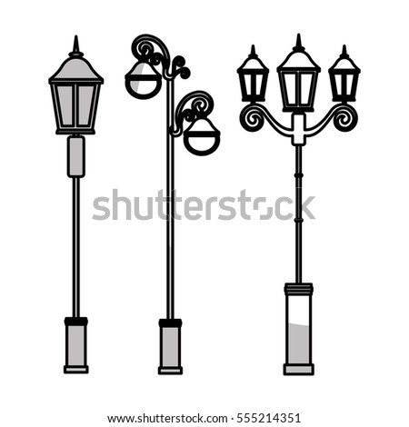 vintage street lamps icon over white background. vector illustration