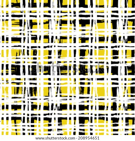 Vintage striped seamless pattern with crossing brushed lines in multiple bright colors - black, white, yellow. Vector hand drawn plaid texture. - stock vector