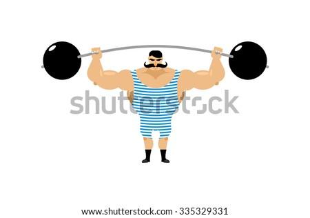 Vintage Strongman. Ancient athlete. Retro bodybuilder barbell. Strong power Circus actor. - stock vector