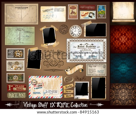 Vintage Stuff Extreme Collection - 3 seamless wallpaper, a parchment, photoframes, adhesive straps, vintage labels, postcards, Ribbon, postage stamps and so on - stock vector