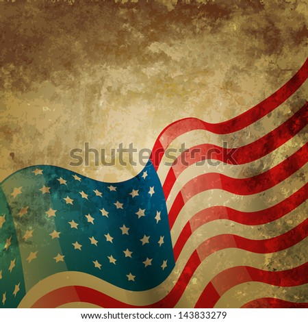 vintage style american flag background - stock vector