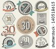 Vintage style 30 anniversary collection. Thirty anniversary design in retro style. Vintage labels for anniversary greeting. Hand lettering style typographic and calligraphic symbols for 30 anniversary - stock vector