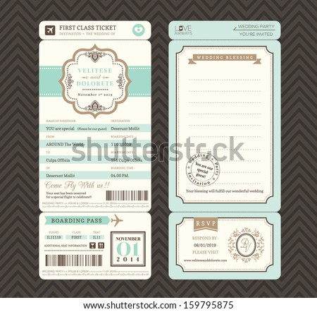 Vintage style Boarding Pass Ticket Wedding Invitation Template Vector - stock vector