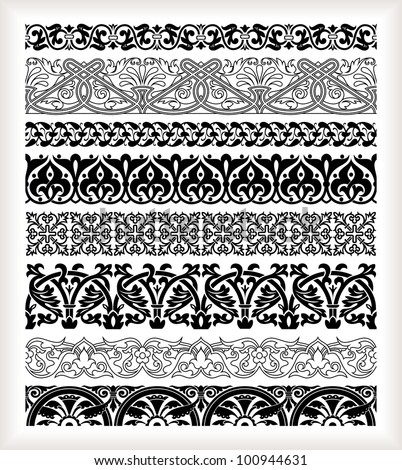 Vintage style borders set - stock vector