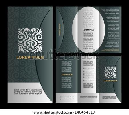 Vintage style brochure template design with modern art elements and ornament, pages layouts in color, classic black, white, turquoise, silver colors and creative solutions for design and decoration - stock vector