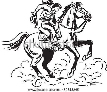 Vintage style brush and ink sketch of a Western Cowgirl riding a wild horse - stock vector