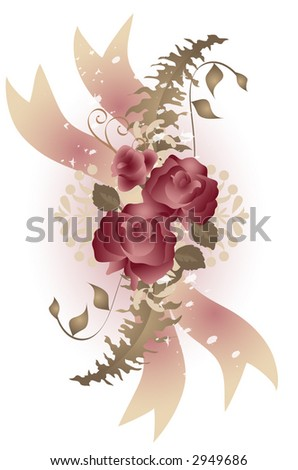 Vintage style cabbage roses and fern in soft pink and green over white background.Vector. - stock vector