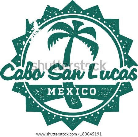 Vintage Style Cabo San Lucas Mexico Vacation Stamp - stock vector