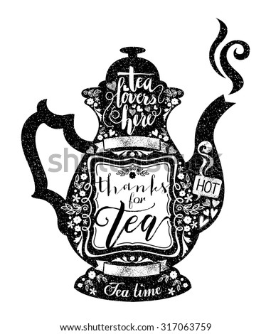 Vintage style cafe menu with teapot or coffee pot shape background. Vector Chalkboard menu with calligraphy and ornaments for coffeehouse, coffee shop, bar and restaurant