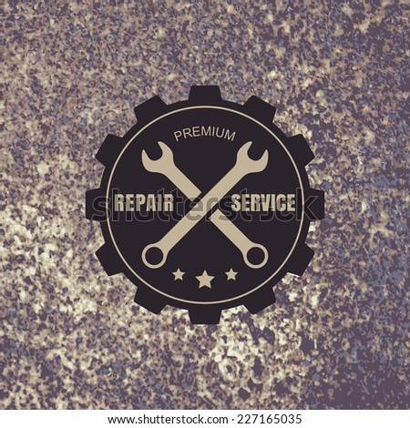 Vintage style car repair service label on rusty background. Vector logo design template. - stock vector