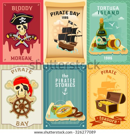 Vintage style children pirate stories 6 flat banners composition poster with treasure chest abstract isolated vector illustration - stock vector