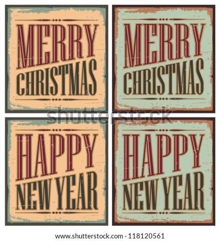 Vintage style Christmas tin signs or greeting cards templates. Retro vector design. - stock vector