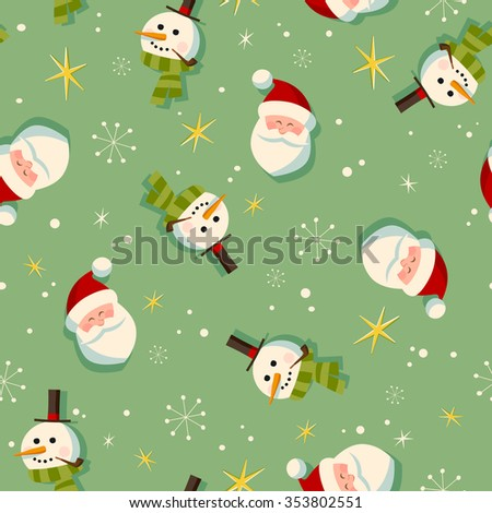Vintage style Christmas wrapping paper pattern - Seamless tiling - EPS10 - stock vector