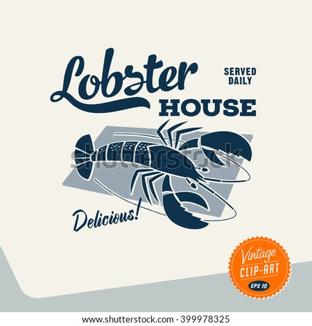 Vintage style Clip Art - Lobster House - Vector EPS10. - stock vector