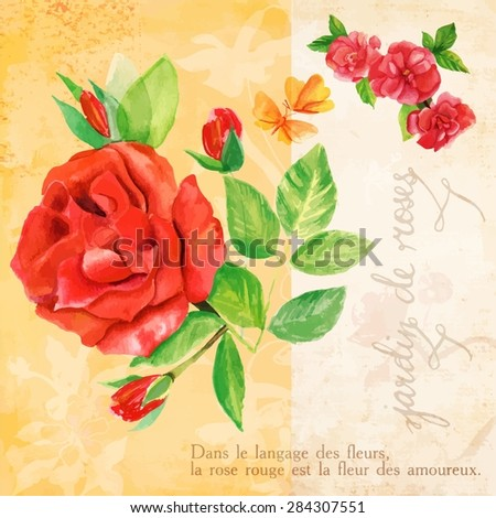 Vintage style collage with roses, butterflies, French calligraphy on old paper (saying 'rose garden') and French text on the meaning of rose in flower language; postcard template; scalable vector - stock vector