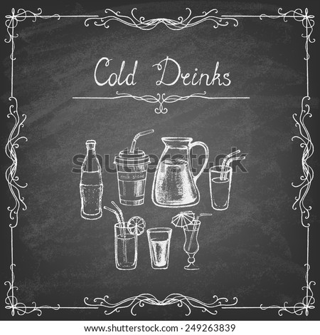 Vintage style. Collection of cold drinks hand drawn sketches on the blackboard. Vector illustration. - stock vector