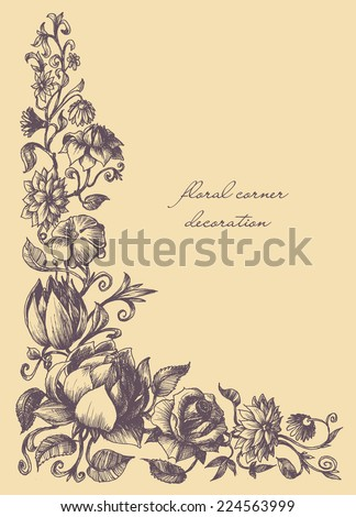 Vintage style decorative graphic floral corner - stock vector