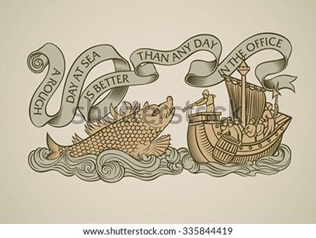 Vintage style design of a caravel attacked by the sea monster. Decorated with the curled banner on the top. Editable vector illustration.