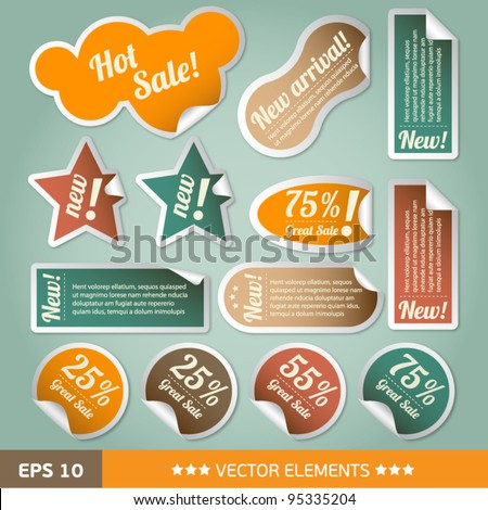 Vintage style discount tags. Sale stickers - stock vector